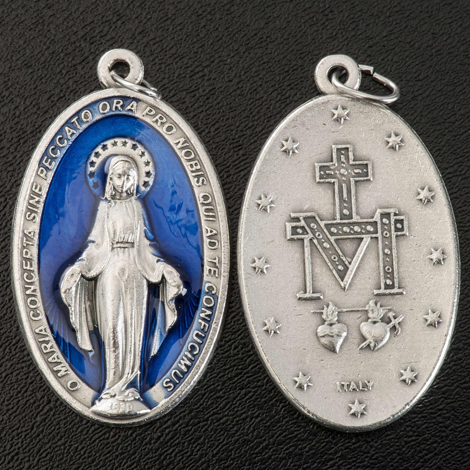 Medalla Milagrosa oval metal plateado esmalte azul 4cm 4