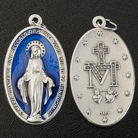 Medalha Milagrosa oval metal prateado esmalte azul h 4 cm