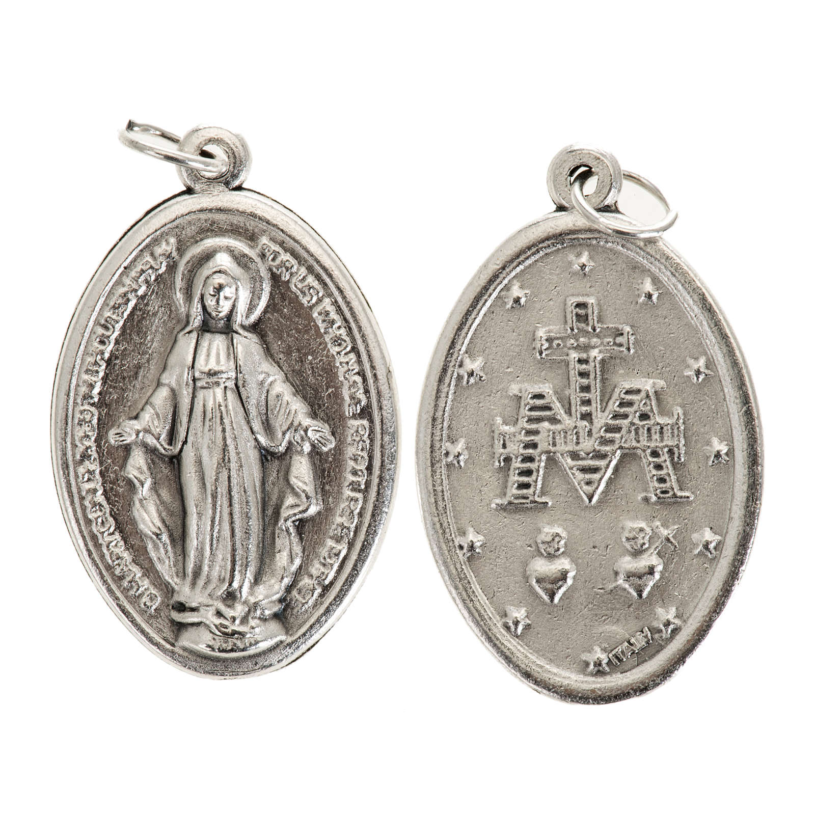 Miraculous Medal, oval in silver metal 30mm 4