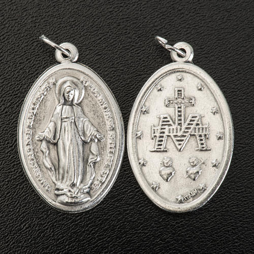 Miraculous Medal, oval in silver metal 30mm 2