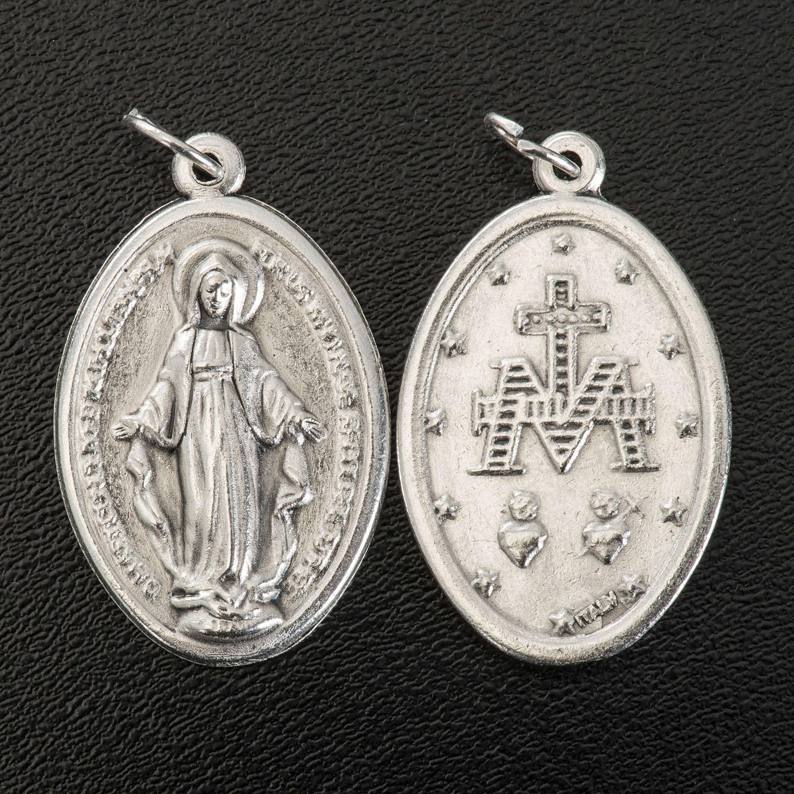 Medalla Milagrosa oval metal plateado 30mm 4