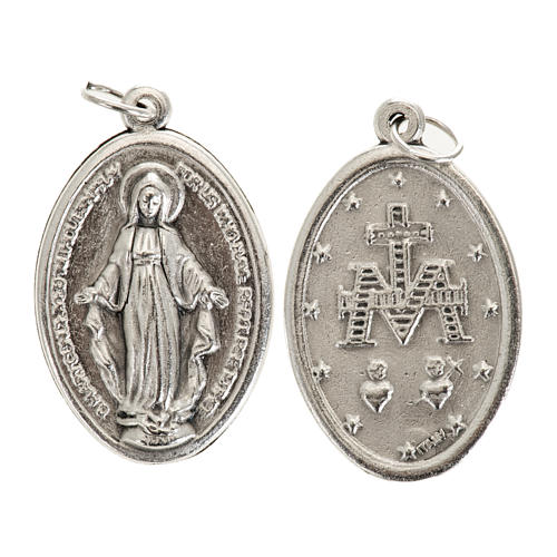 Miraculous Medal, oval in silver metal 30mm 1