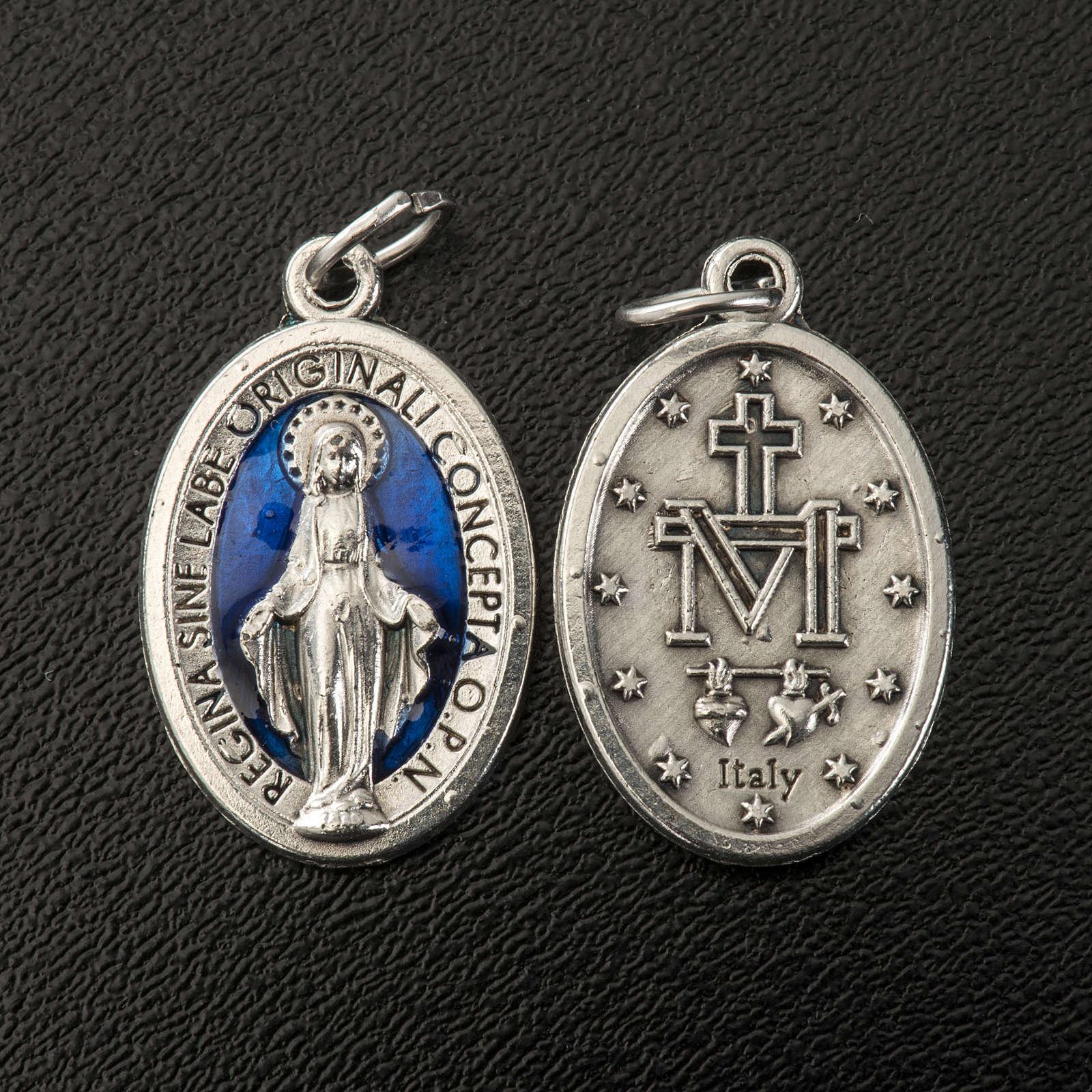 Medalla de la Milagroza oval metal con esmalte azul 21mm 4