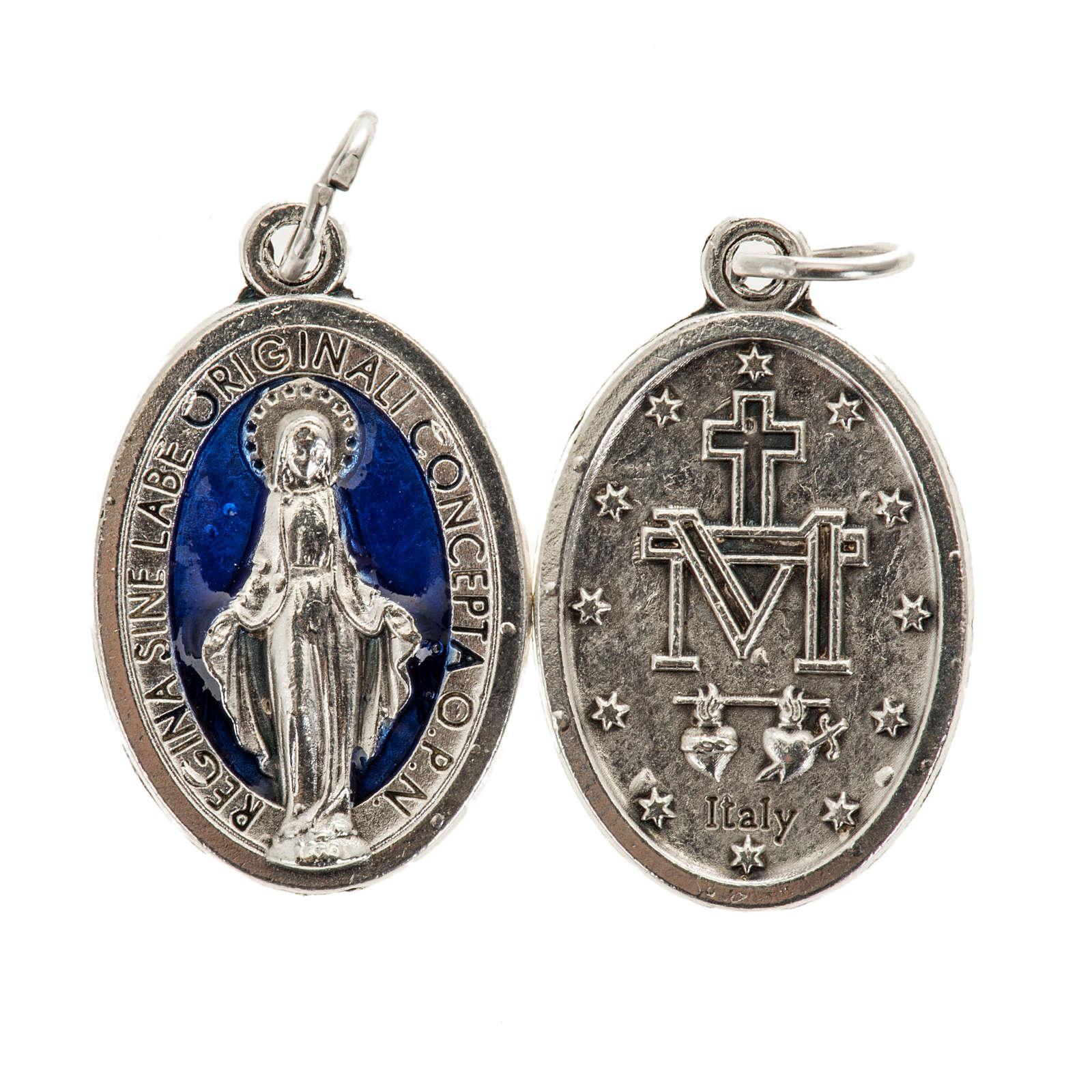 Medaglia Miracolosa ovale metallo con smalto blu h 21 mm 4