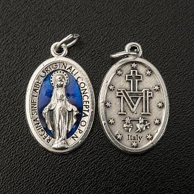 Medaglia Miracolosa ovale metallo con smalto blu h 21 mm s2