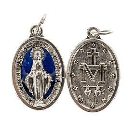 Medalha Milagrosa oval metal com esmalte azul h 21 mm