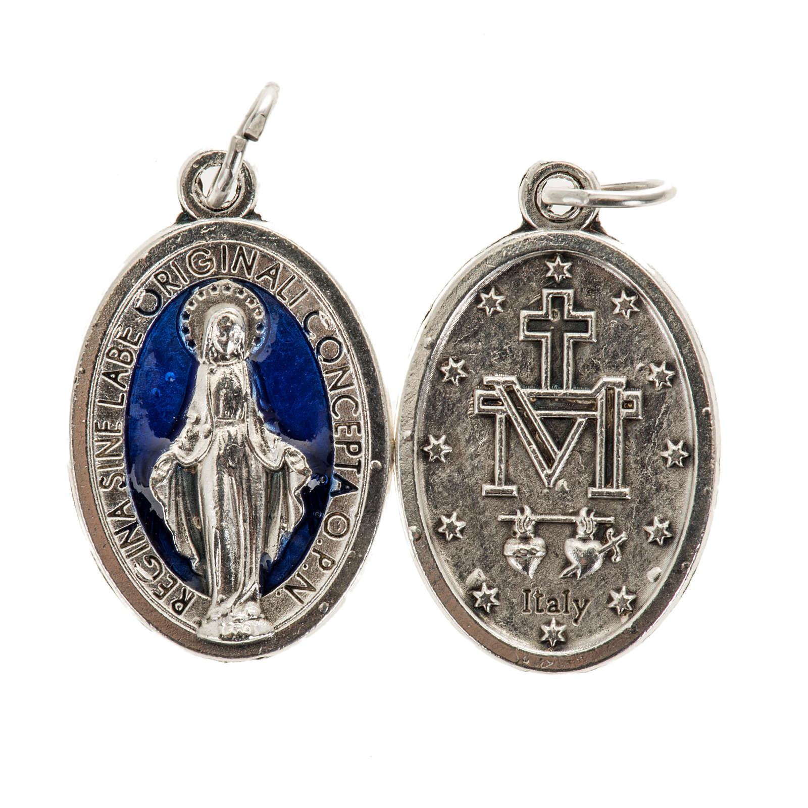 Miraculous Medal, oval in metal and blue enamel H21mm 4