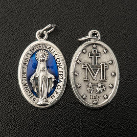 Miraculous Medal, oval in metal and blue enamel H21mm s2