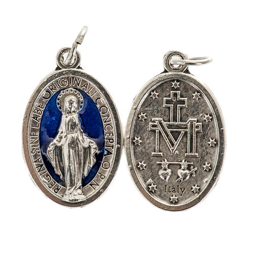 Miraculous Medal, oval in metal and blue enamel H21mm 1