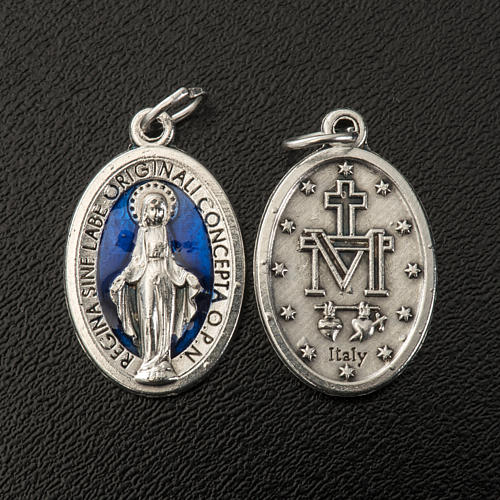 Miraculous Medal, oval in metal and blue enamel H21mm 2