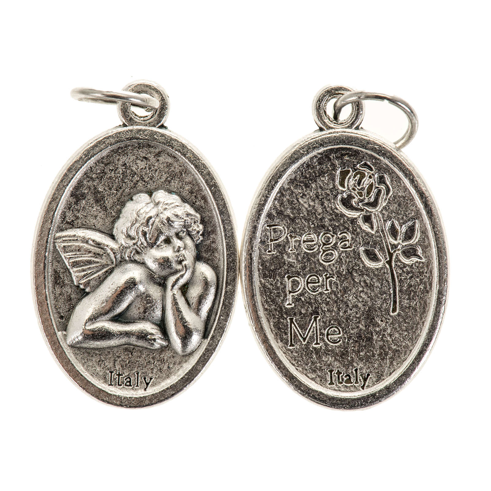 Medalla ángel oval metal plateado 20mm 4