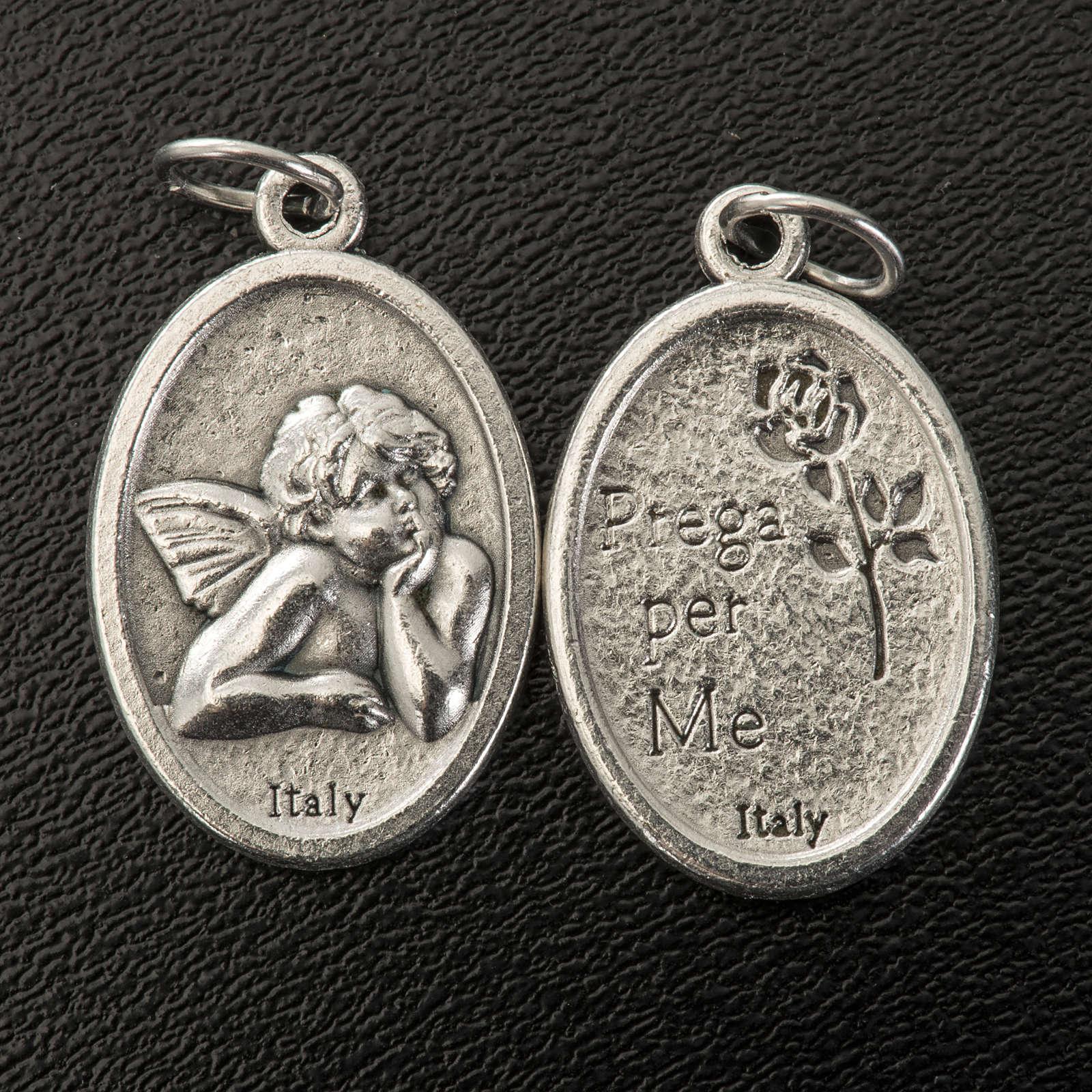 Médaille ange ovale métal argenté h 20 mm 4