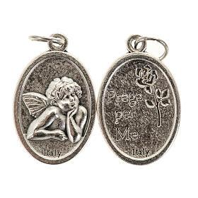 Médailles: Médaille ange ovale métal argenté h 20 mm