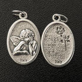 Médaille ange ovale métal argenté h 20 mm s2