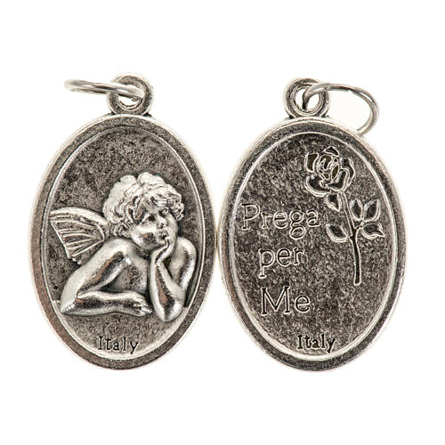 Médaille ange ovale métal argenté h 20 mm 1