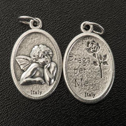 Médaille ange ovale métal argenté h 20 mm 2