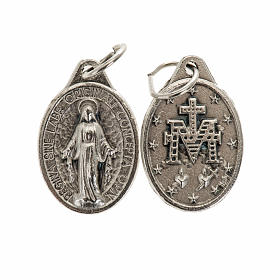 Miraculous Medal, oval in silver metal 17mm s1