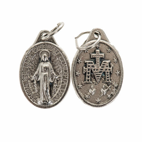 Miraculous Medal, oval in silver metal 17mm 1