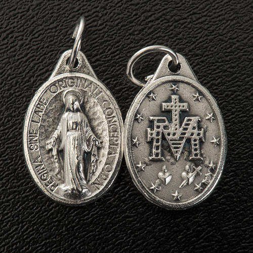 Miraculous Medal, oval in silver metal 17mm 2