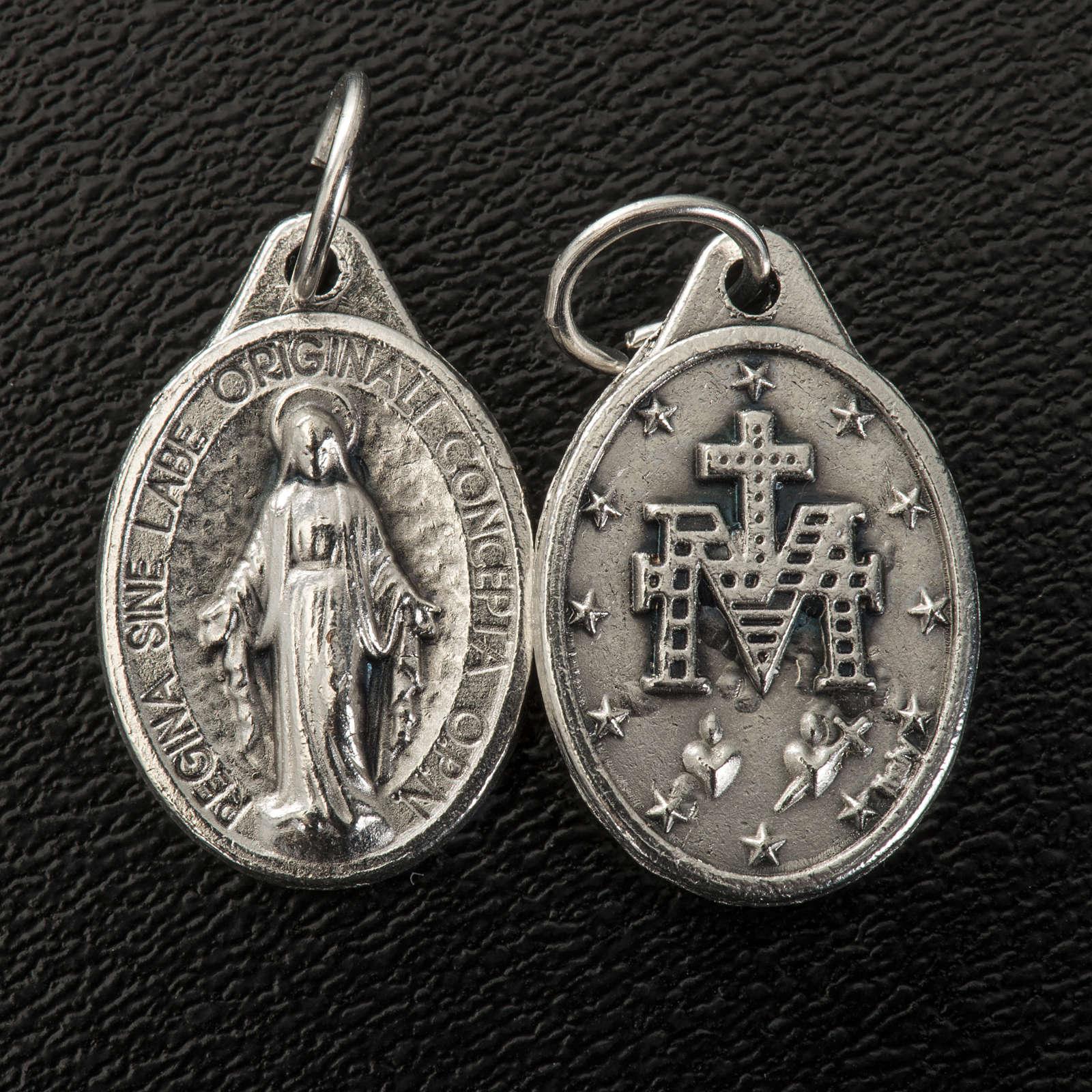 Medalla Milagrosa  forma oval metal plateado 17mm 4