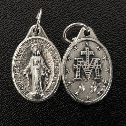 Medalla Milagrosa  forma oval metal plateado 17mm