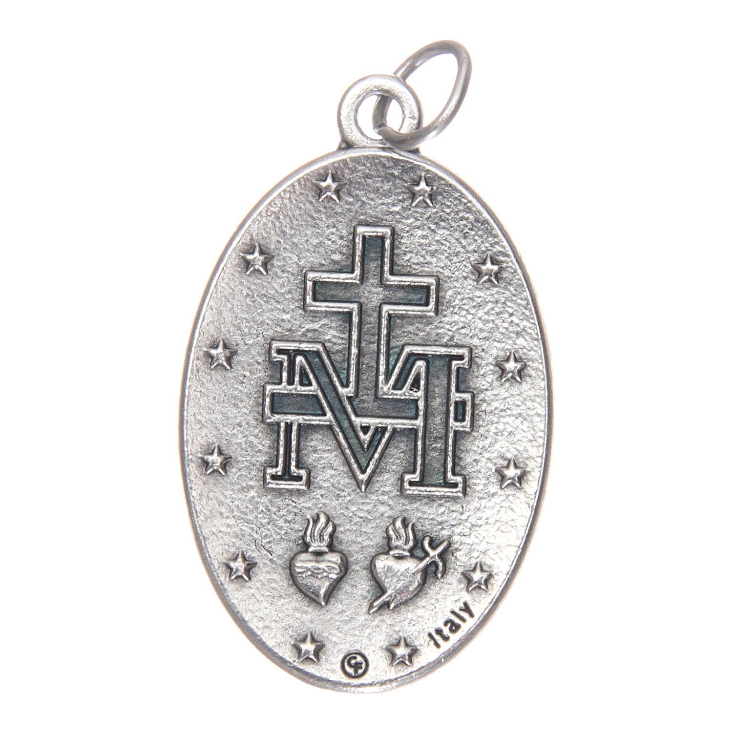 Medalha Milagrosa oval metal com esmalte azul h 30 mm 4