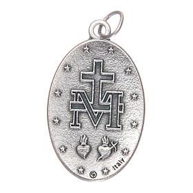 Medalha Milagrosa oval metal com esmalte azul h 30 mm s2