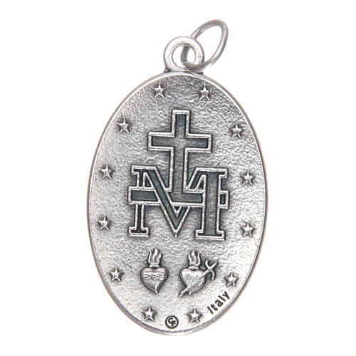 Medalha Milagrosa oval metal com esmalte azul h 30 mm 2