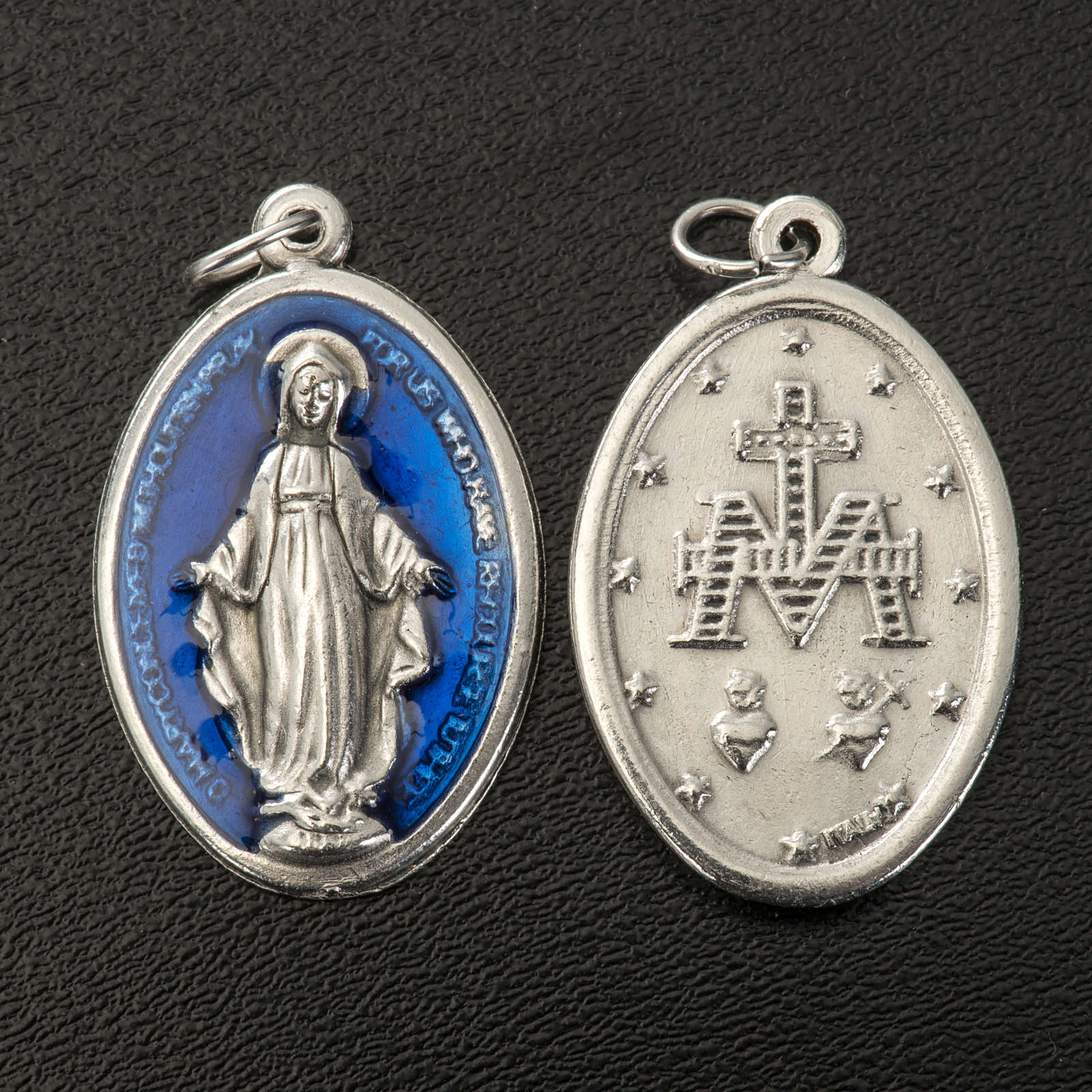 Miraculous Medal, oval in metal and blue enamel H30mm 4