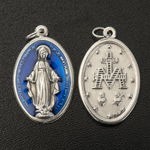Miraculous Medal, oval in metal and blue enamel H30mm 2