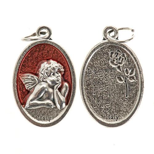 Medaglia Angelo ovale metallo smaltato h 20 mm rosso 1