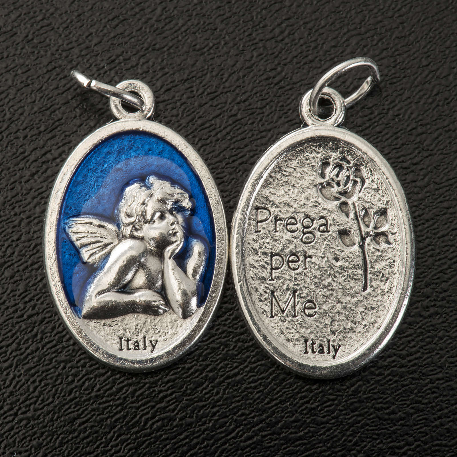 Medaglia Angelo ovale metallo smaltato h 20 mm blu 4