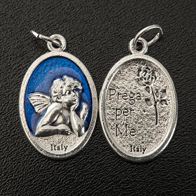 Medaglia Angelo ovale metallo smaltato h 20 mm blu s2