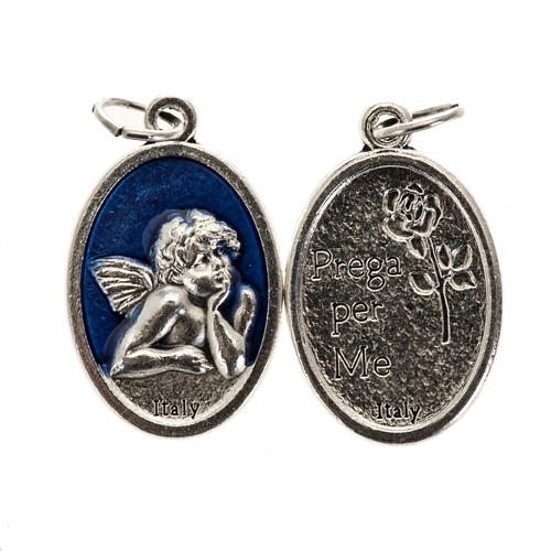 Medaglia Angelo ovale metallo smaltato h 20 mm blu 1