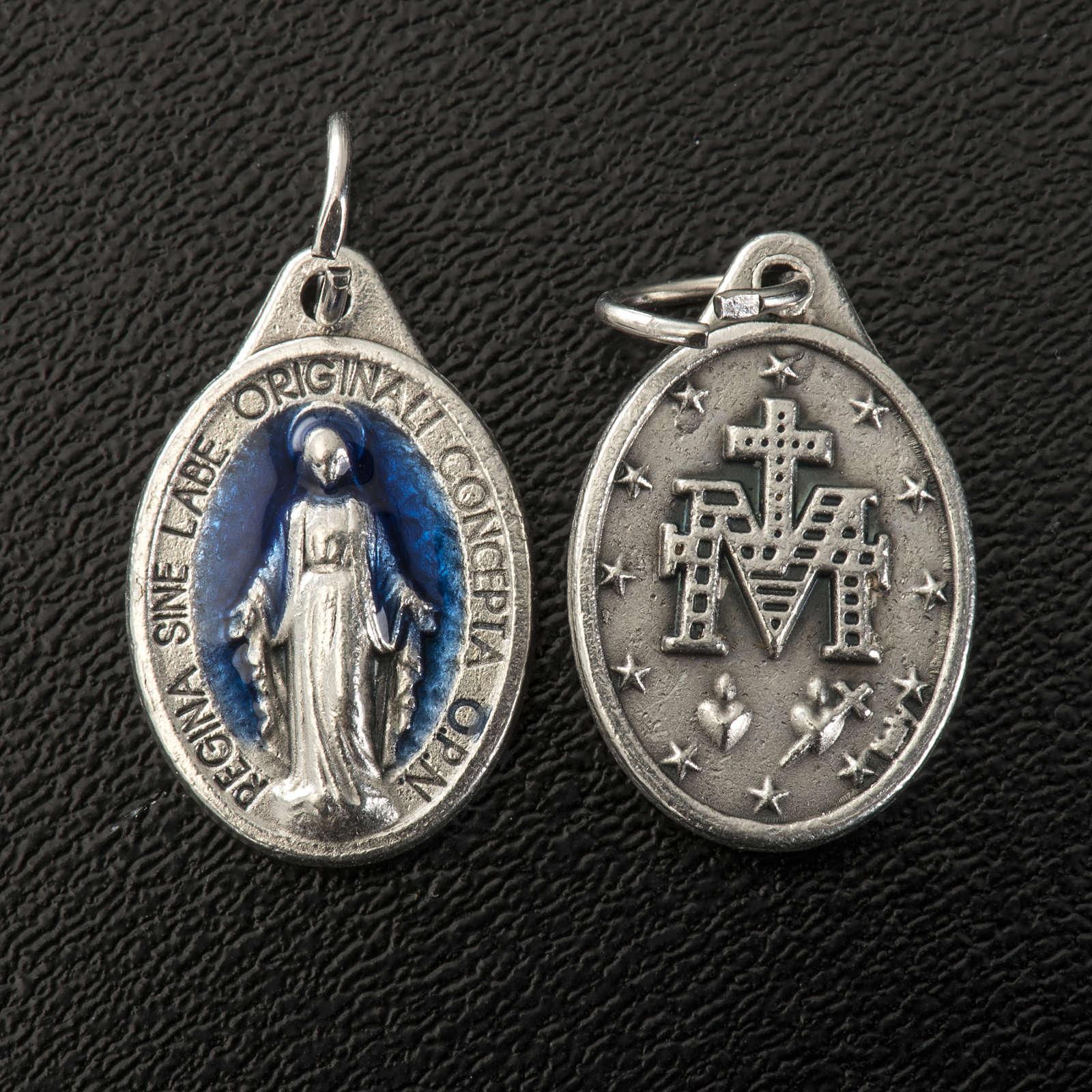 Médaille Miraculeuse ovale émail bleu ciel h 17 mm 4