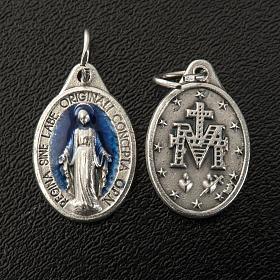 Médaille Miraculeuse ovale émail bleu ciel h 17 mm s2