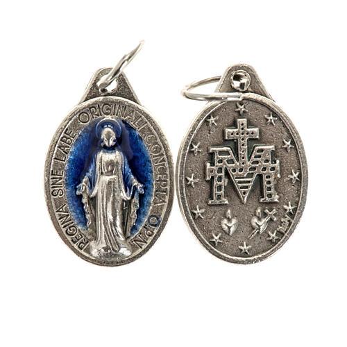 Médaille Miraculeuse ovale émail bleu ciel h 17 mm 1