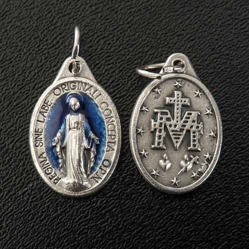 Médaille Miraculeuse ovale émail bleu ciel h 17 mm 2