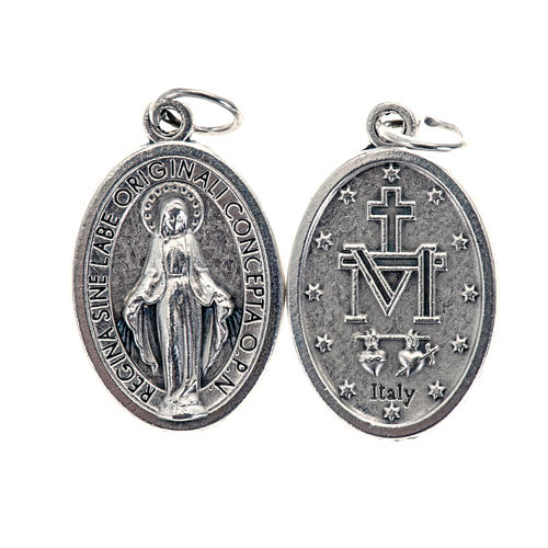 Miraculous Medal, oval in silver metal H21mm 1