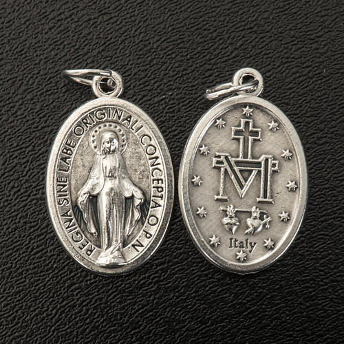 Miraculous Medal, oval in silver metal H21mm 2