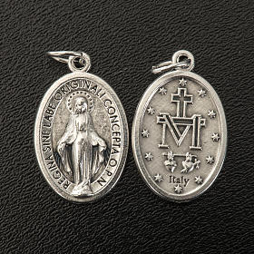 Medalla Milagrosa ovalado metal plateado 21mm s2