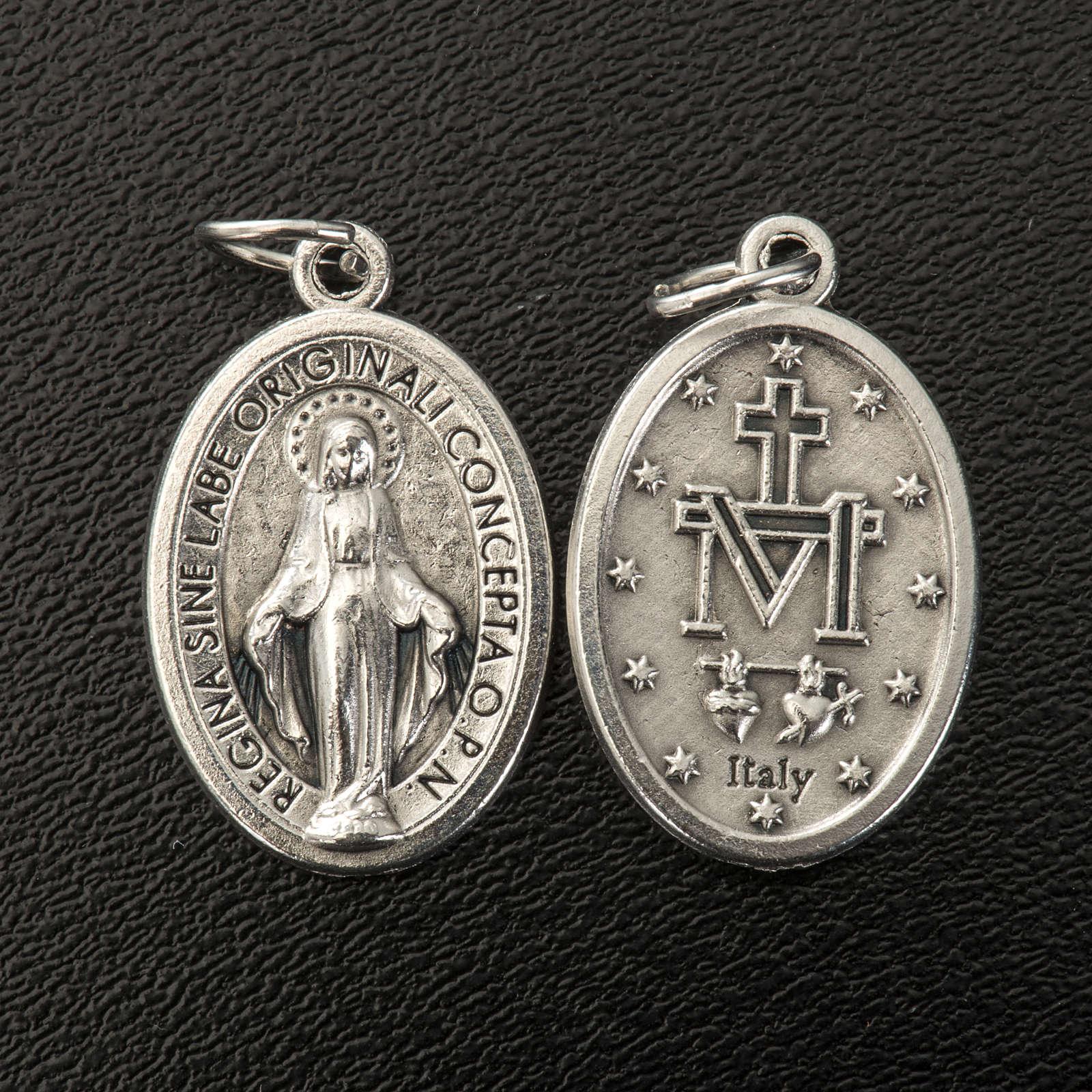 Medaglia Miracolosa ovale metallo argentato h 21 mm 4