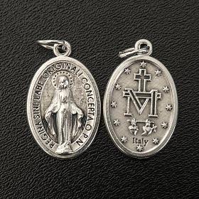 Medaglia Miracolosa ovale metallo argentato h 21 mm s2
