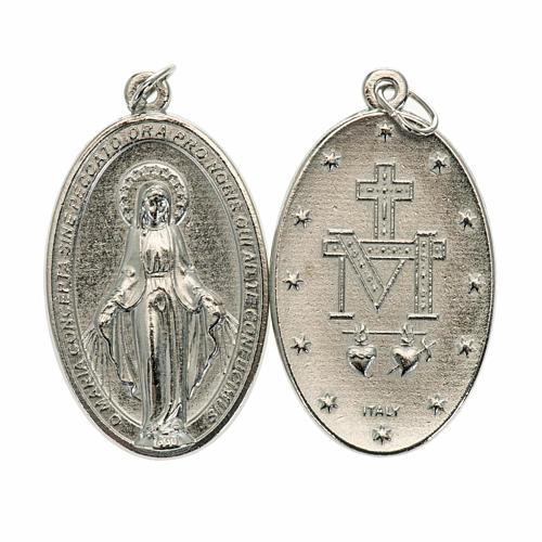 Medalla oval Milagrosa metal plateado 40mm 1