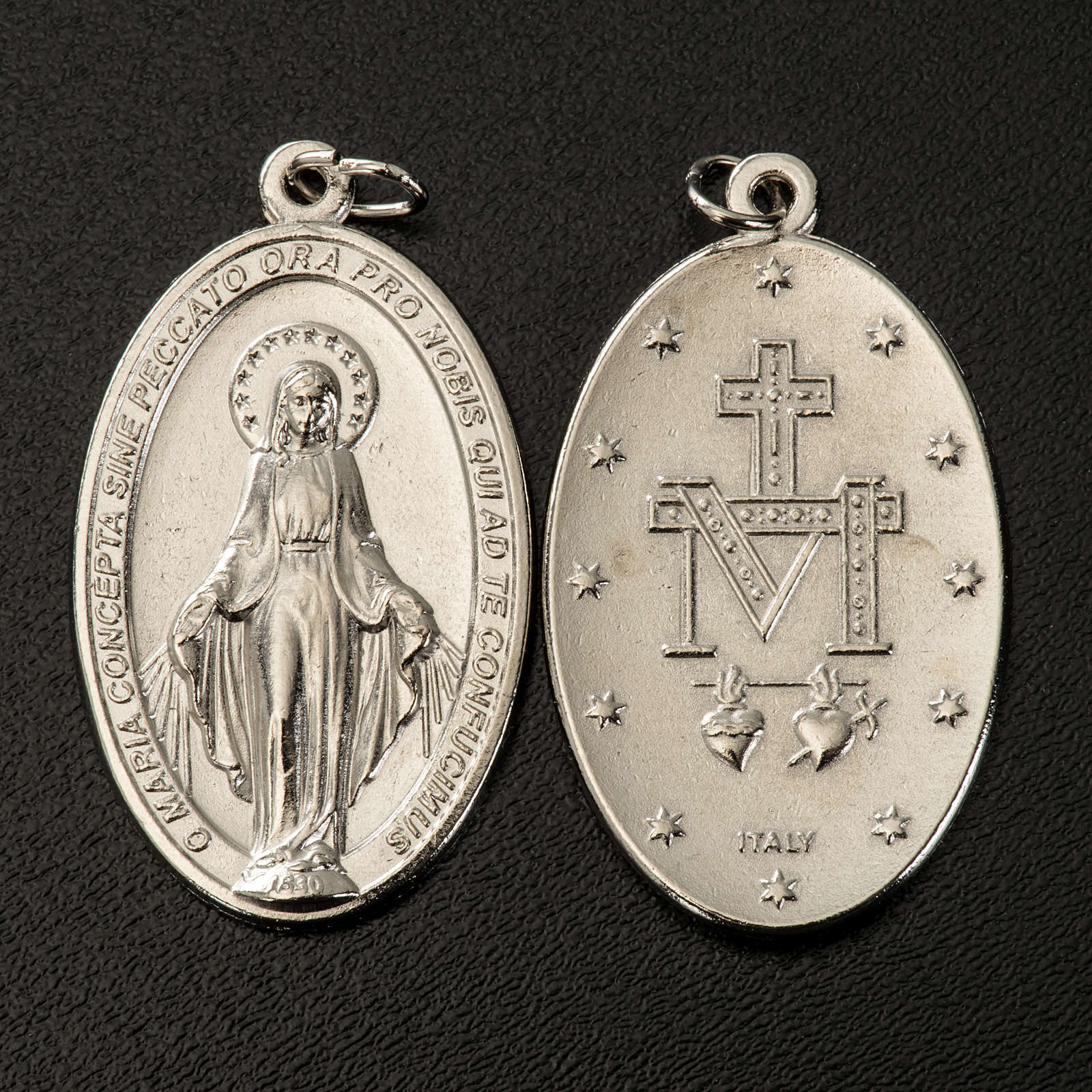 Miraculous Medal, oval in silver metal H40mm 4