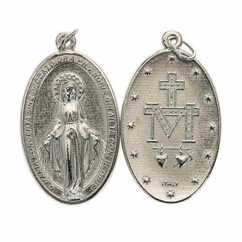 Miraculous Medal, oval in silver metal H40mm 1