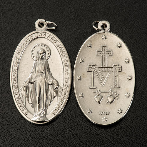 Miraculous Medal, oval in silver metal H40mm 2