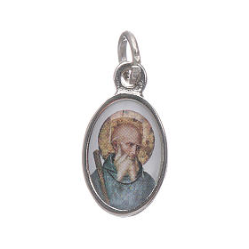 Medaglia San Benedetto metallo nichelato e bombatino h 1,5 cm