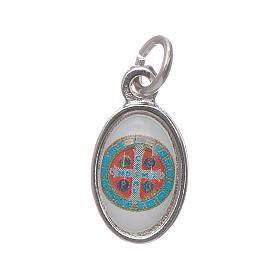 Medalha São Bento metal niquelado e cabochom h 1,5 cm