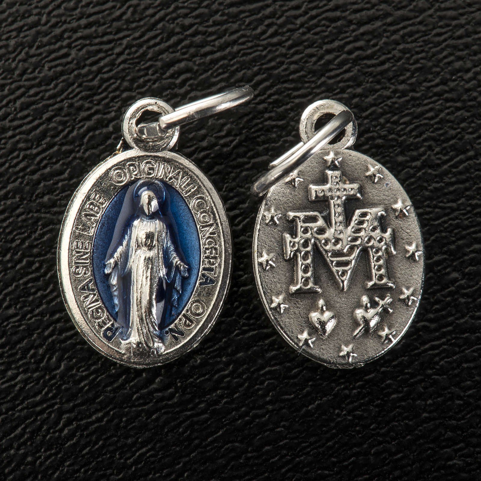 Medalla ovalada Milagrosa metal y esmalte azul 12mm 4
